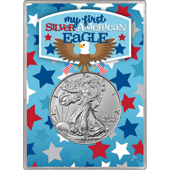 2017 Silver American Eagle BU in My First SAE Gift Holder