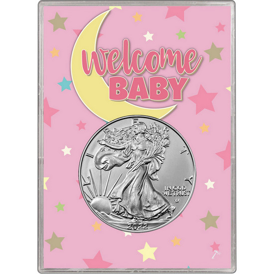 2017 Silver American Eagle BU in Pink Welcome Baby Gift Holder