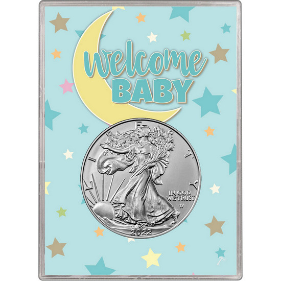 2017 Silver American Eagle BU in Blue Welcome Baby Gift Holder