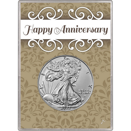 2017 Silver American Eagle BU in Happy Anniversary Gift Holder
