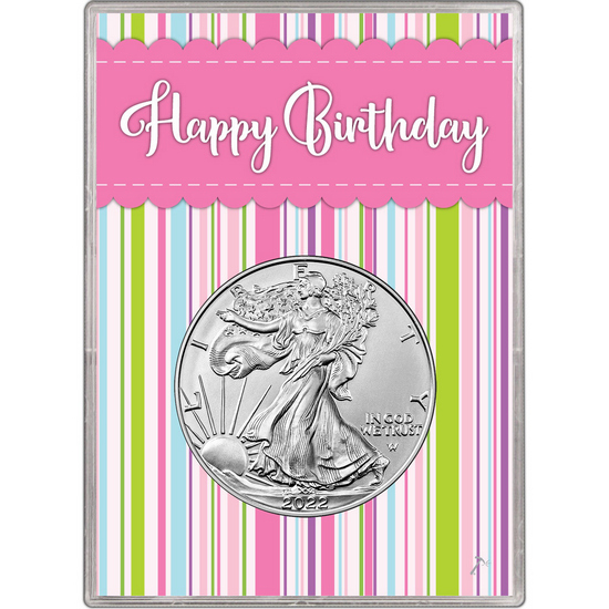 2017 Silver American Eagle BU in Pink Happy Birthday Gift Holder