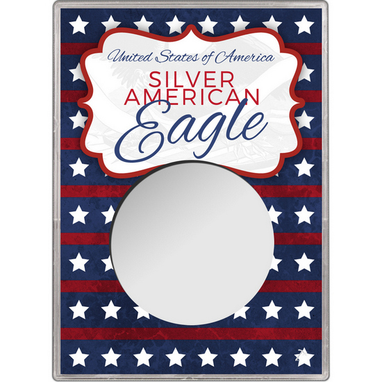 Patriotic Stars and Stripes Gift Holder for Silver American Eagle - Empty