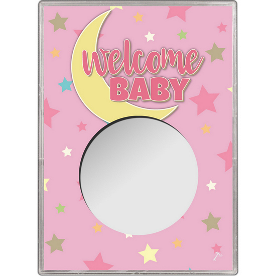 Pink Welcome Baby Gift Holder for Silver American Eagle - Empty