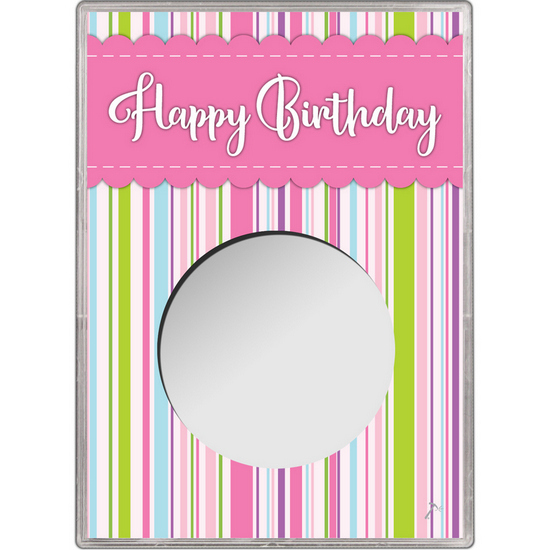 Pink Happy Birthday Gift Holder for Silver American Eagle - Empty