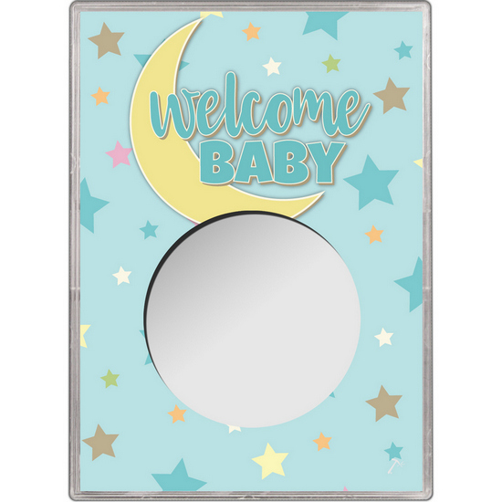 Blue Welcome Baby Gift Holder for Silver American Eagle - Empty