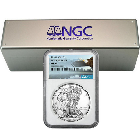 2018 Silver American Eagle MS69ER NGC Bald Eagle Label 20pc with NGC Storage Box