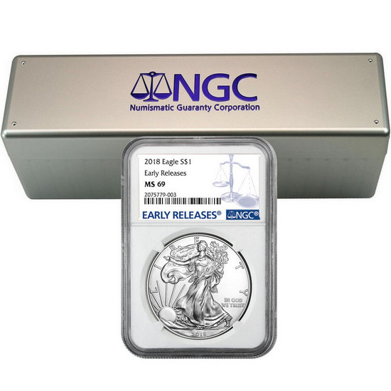 2018 Silver American Eagle MS69ER NGC Blue Label 20pc in NGC Storage Box
