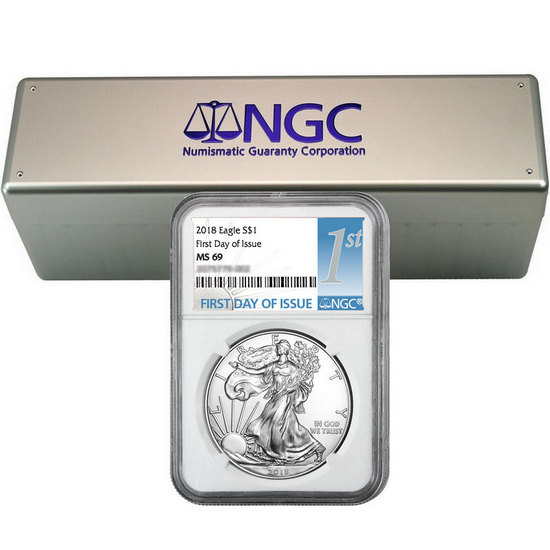 2018 Silver American Eagle MS69 FDI NGC 1st Label 20pc with NGC Storage Box