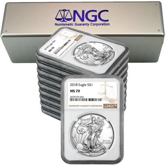 2018 Silver American Eagle MS70 NGC Brown Label 10pc with NGC Storage Box