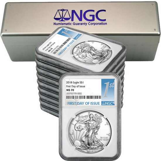 2018 Silver American Eagle MS70 FDI NGC 1st Label 10pc with NGC Storage Box