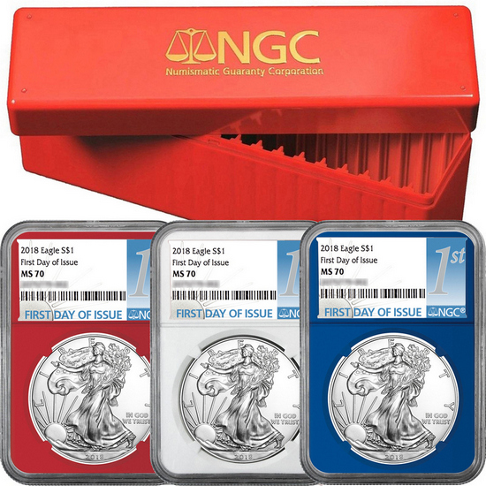2018 Silver American Eagle MS70 FDI NGC 1st Label Red, White & Blue Core 3pc Set in Red NGC Box