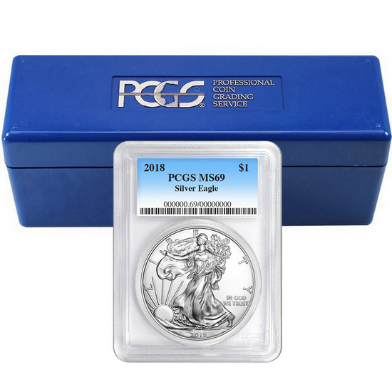 2018 Silver American Eagle MS69 PCGS Blue Label 20pc with PCGS Storage Box