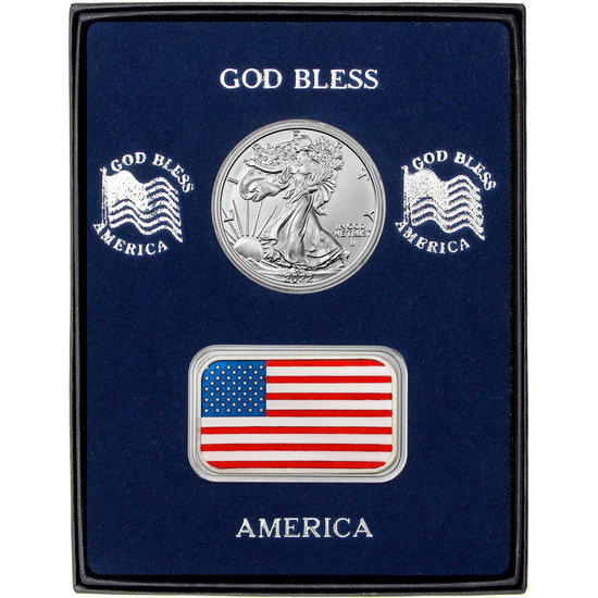 Enameled American Flag Silver Bar and Silver American Eagle 2pc Box Set