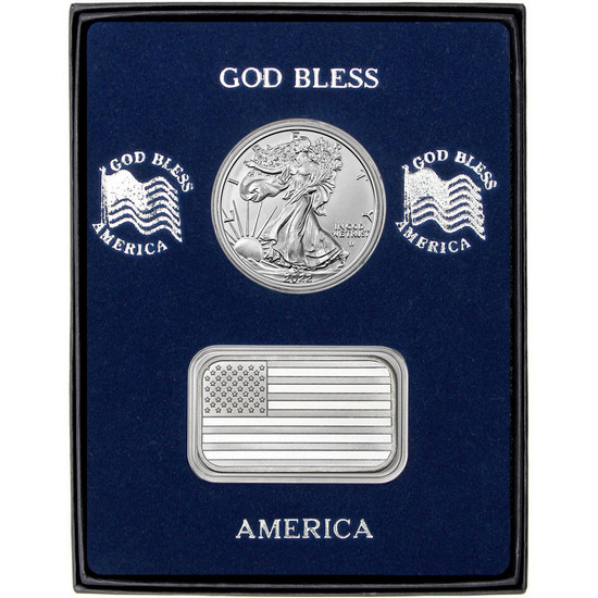 American Flag Silver Bar and Silver American Eagle 2pc Box Set