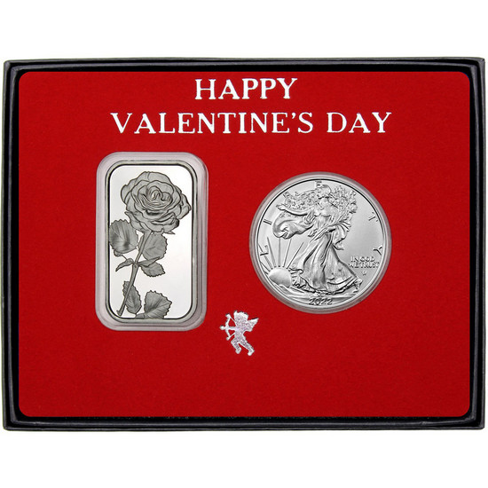 Valentine Rose Silver Bar and Silver American Eagle 2pc Box Set