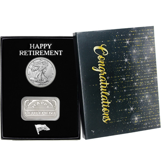 2 Piece Retirement Silver Bar and SAE Gift Set in Custom Packaging