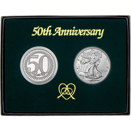 50th Anniversary Year Silver Round and Silver American Eagle 2pc Box Set