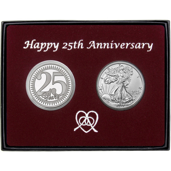 25th Anniversary Year Silver Round and Silver American Eagle 2pc Gift Set