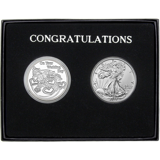 Congratulations Wedding Day Silver Round and Silver American Eagle 2pc Box Set
