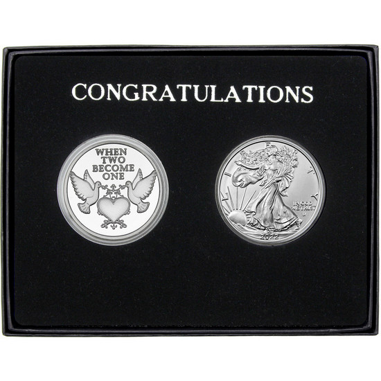 Wedding Doves Silver Round and Silver American Eagle 2pc Box Set