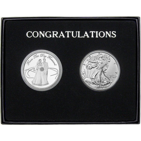 Wedding Couple Silver Round and Silver American Eagle 2pc Gift Set