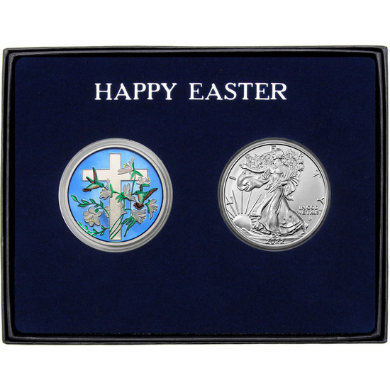 Happy Easter Religious Cross Enameled Silver Round and Silver American Eagle 2pc Box Set