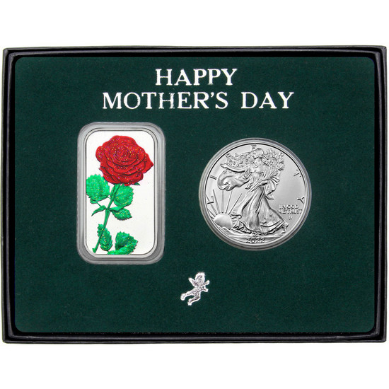 Happy Mother's Day Enameled Red Rose Silver Bar and Silver American Eagle 2pc Box Set
