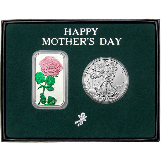 Happy Mother's Day Enameled Pink Rose Silver Bar and Silver American Eagle 2pc Box Set