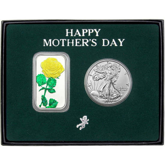 Happy Mother's Day Enameled Yellow Rose Silver Bar and Silver American Eagle 2pc Box Set