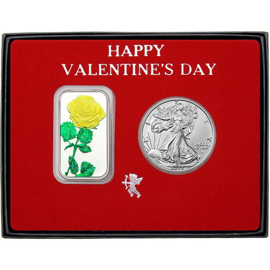 Valentine Enameled Yellow Rose Silver Bar and Silver American Eagle 2pc Box Set