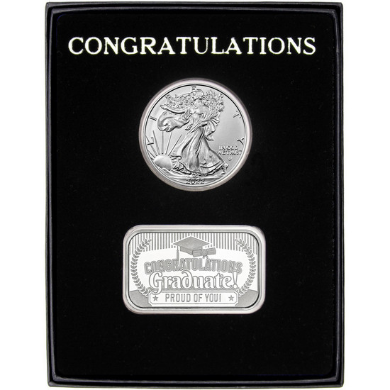 Congratulations Graduation Year 2019 Silver Bar and Silver American Eagle 2pc Gift Set