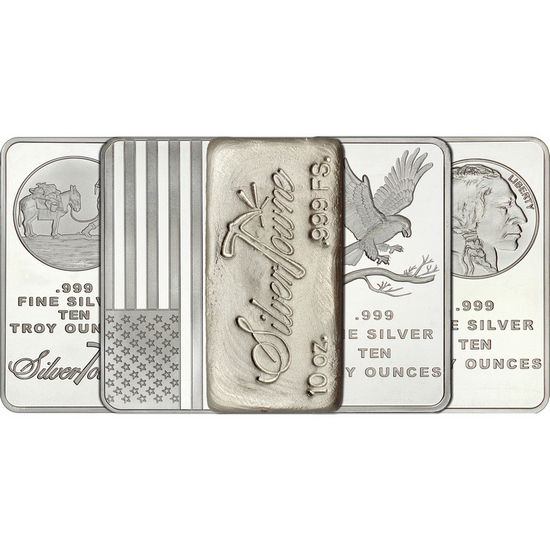 Mixed Designs 10oz .999 Silver Bar 5pc