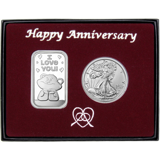 Happy Anniversary I Love You Bear Silver Bar and Silver American Eagle 2pc Gift Set