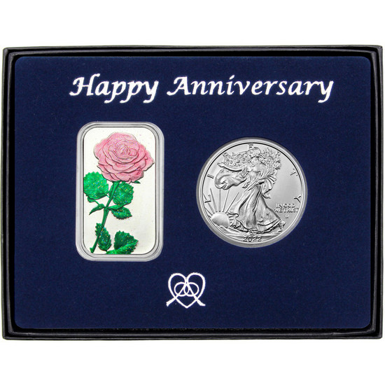 Happy Anniversary Pink Rose Enameled Silver Bar and Silver American Eagle 2pc Box Set