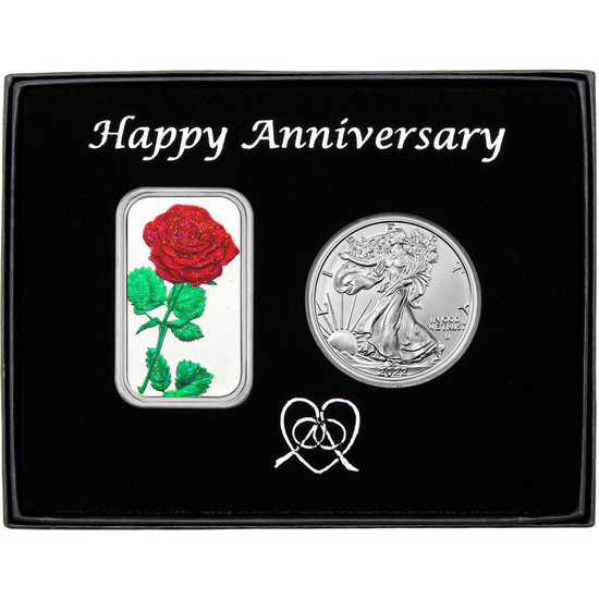 Happy Anniversary Red Rose Enameled Silver Bar and Silver American Eagle 2pc Box Set