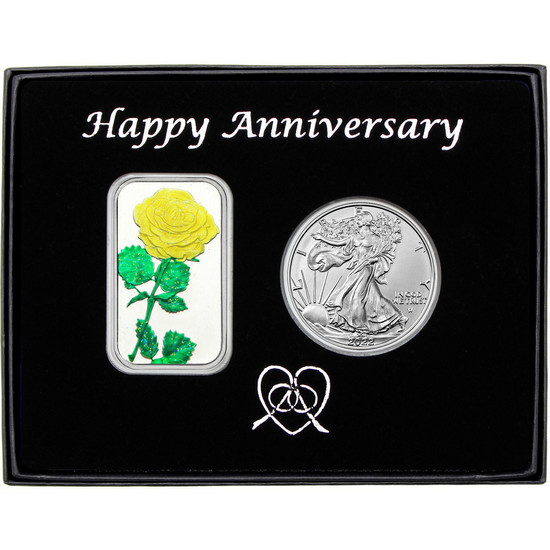 Happy Anniversary Yellow Rose Enameled Silver Bar and Silver American Eagle 2pc Box Set