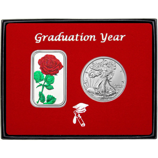 Graduation Year Red Rose Enameled Silver Bar and Silver American Eagle 2pc Box Set
