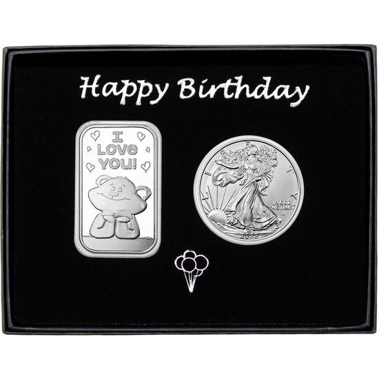 Happy Birthday I Love You Bear Silver Bar and Silver American Eagle 2pc Box Set
