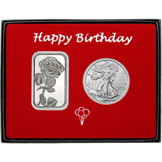 Happy Birthday Single Rose Silver Bar and Silver American Eagle 2pc Box Set