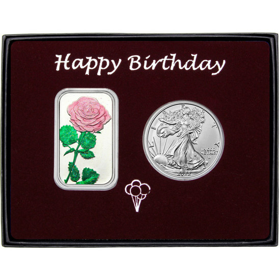 Happy Birthday Pink Rose Enameled Silver Bar and Silver American Eagle 2pc Box Set