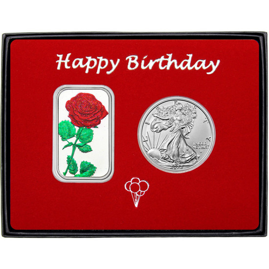 Happy Birthday Red Rose Enameled Silver Bar and Silver American Eagle 2pc Gift Set