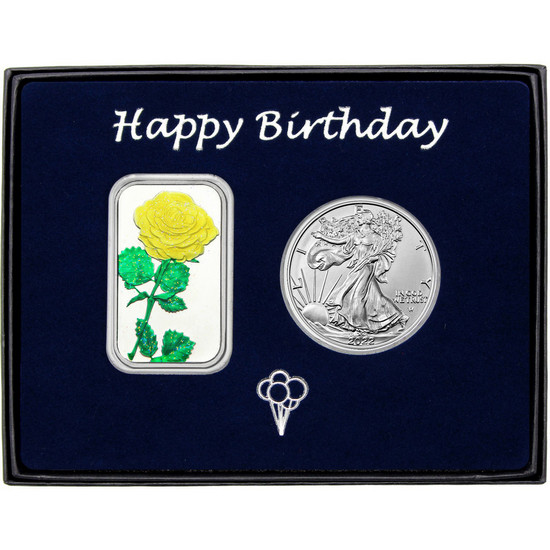 Happy Birthday Yellow Rose Enameled Silver Bar and Silver American Eagle 2pc Box Set