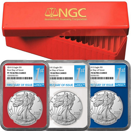 2018 S Silver American Eagle Coin PF70 UC FDI Red, White & Blue Core NGC 1st Label 3pc Set in Red NGC Box