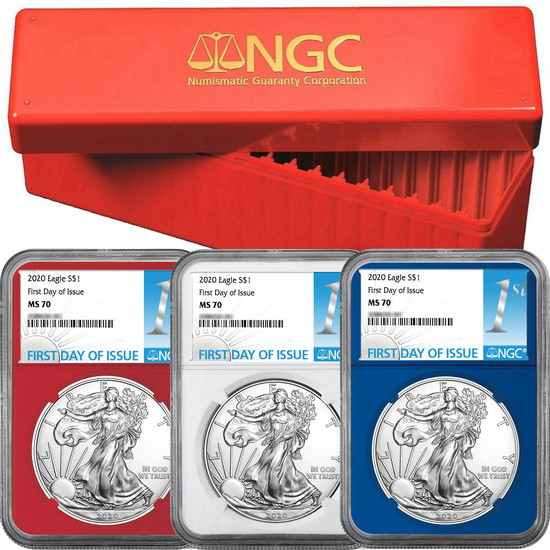 Pre-Sale 2020 Silver American Eagle MS70 FDI NGC 1st Label Red, White & Blue Core 3pc Set in Red NGC Box