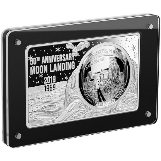2019 50th Anniversary Moon Landing Apollo Silver Curved Coin and 2oz Bar Set