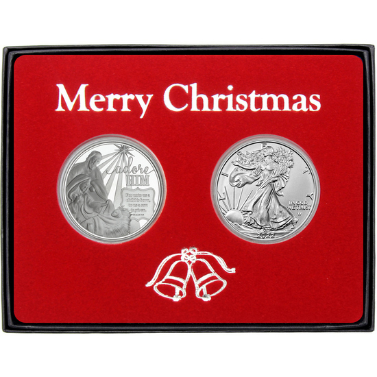 Merry Christmas Holy Family Nativity Silver Round and Silver American Eagle 2pc Box Gift Set