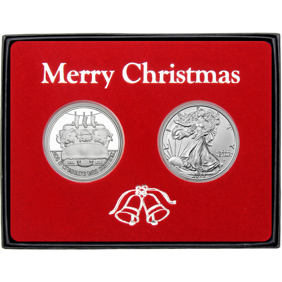 Merry Christmas Sweet Wishes Gingerbread Man Silver Round and SAE Gift Set
