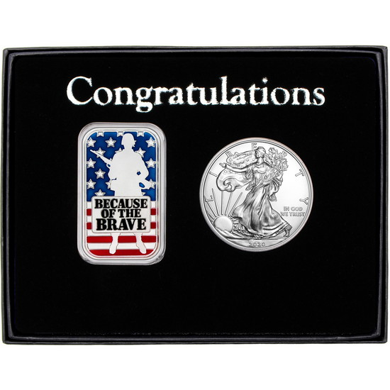 Congratulations Enameled Because of the Brave Soldier Silver Bar and Silver American Eagle 2pc Box Set