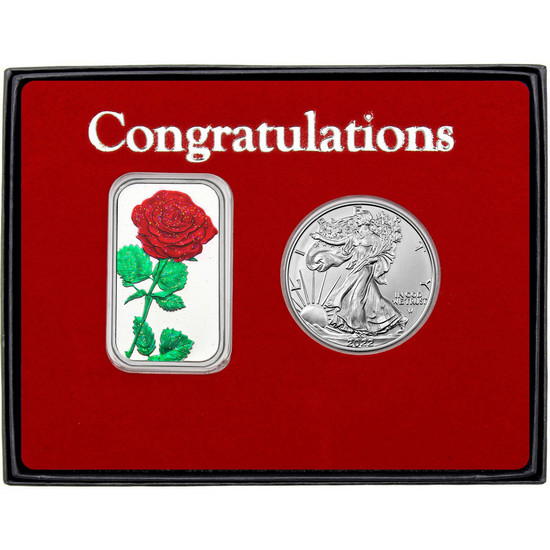 Congratulations Enameled Red Rose Silver Bar and Silver American Eagle 2pc Box Set