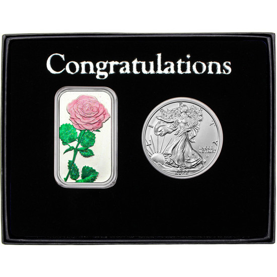 Congratulations Enameled Pink Rose Silver Bar and Silver American Eagle 2pc Box Set